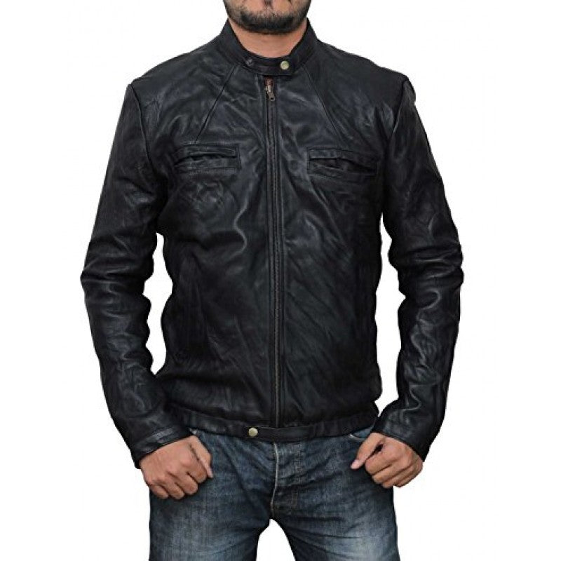 Black Brass Guys Racer Style Wrinkled Real Leather Biker Jacket