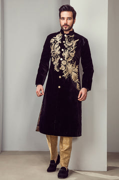 Black Cool Looking Sherwani for Men