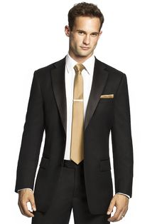 Black Formal gold wedding suit for men
