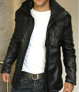 Comfortable Black Leather Jacket  For Men