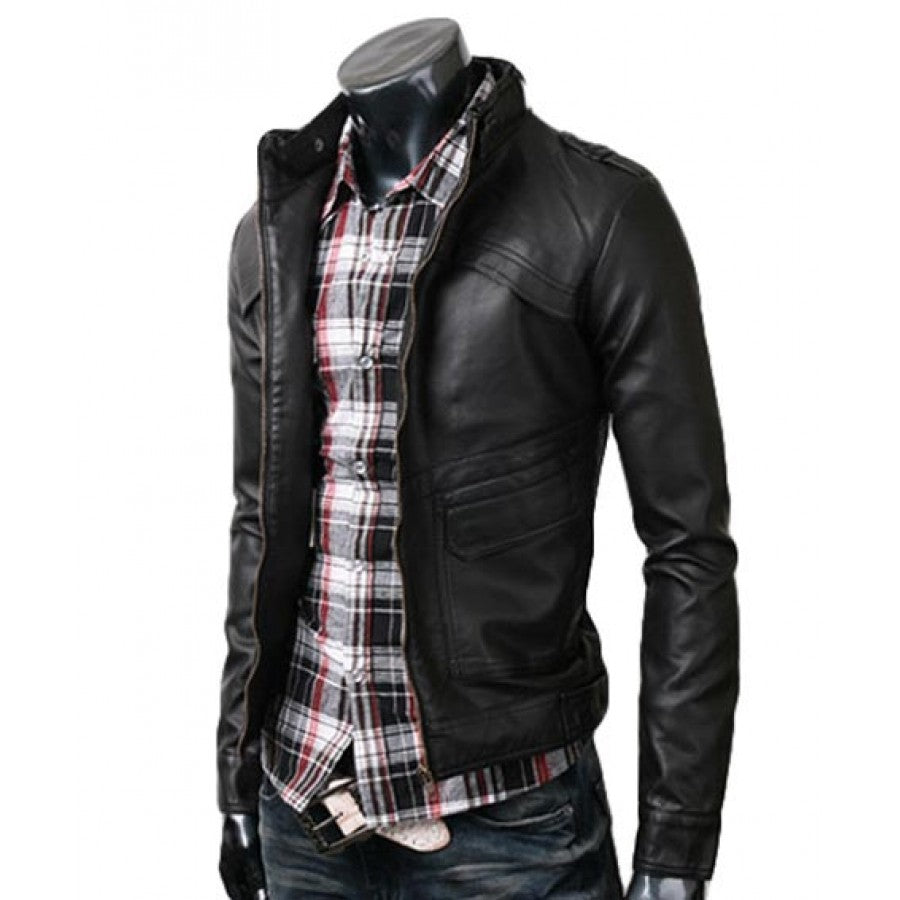 Black amazing leather jacket for men