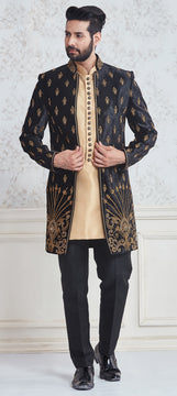 Black and Grey Sherwani For Men