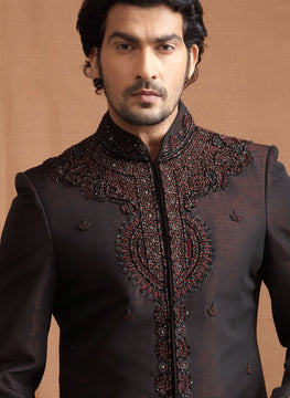 Black and Maroon Indian Sherwani