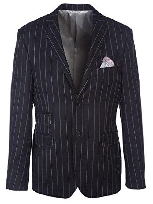Black and White Pinstripe Suit For Men