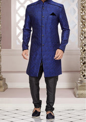 Blue Fashionable Sherwani