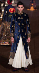 Blue Velvet and Gold Indian Sherwani