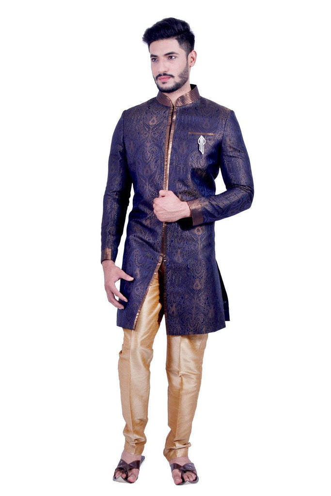 Blue and Gold Indian Sherwani