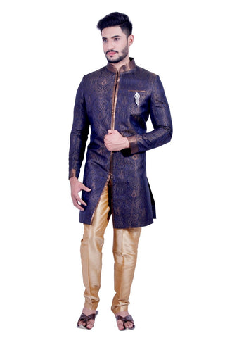 A Graceful Blue and Gold Indian Sherwani