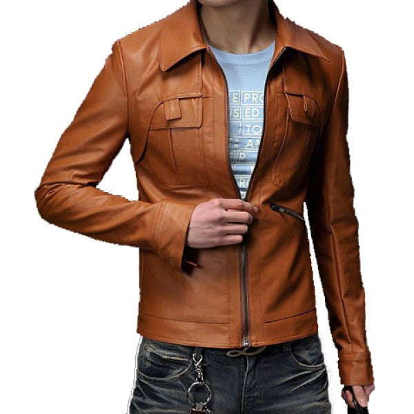 Brown Custom Made Men Fashion Leather Jacket