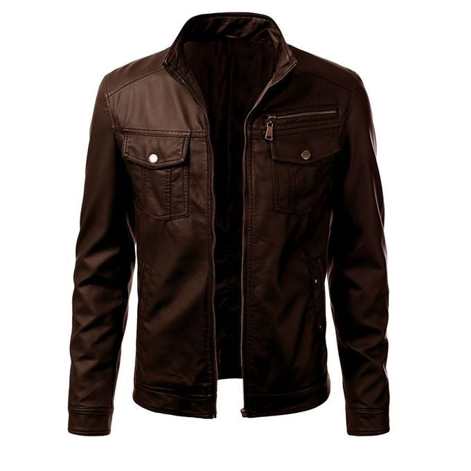Brown Faux Leather Jacket For Men