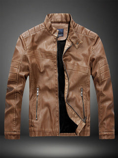Brown Leather Jacket Men Jacket Stand Collar Long Sleeve