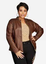 Brown Plus Size Leather Jacket for women
