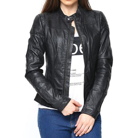 Buy Latest  design Black Leather Jacket for women