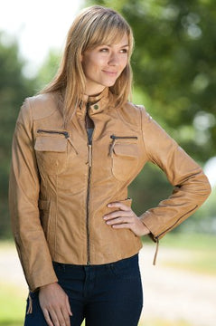 Camel Leather Jacket for women