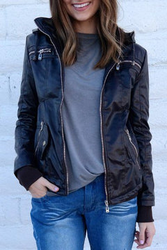 Casual Women Hooded Solid Color Leather Jacket