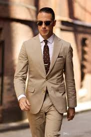 Classy High Quality  Light Brown Men suit