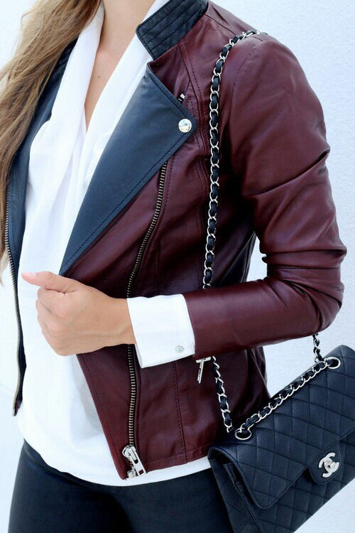 Colored Leather Jacket for women