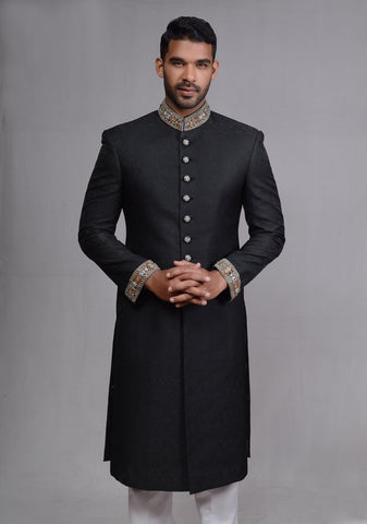 Smart  Black Sherwani with Special Design