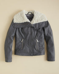 Cool Silver Leather Jacket For Kids