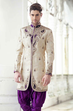 Cream and Purple Silk Full Sleeve-Indian Sherwani