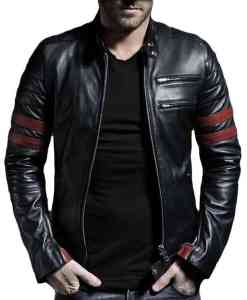 Special Custom Black-Leather-Jacket-with-Brown