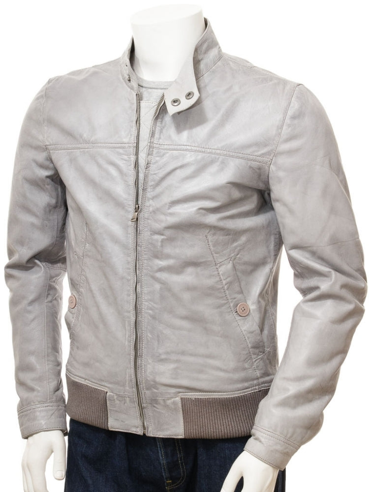 Custom Grey -Leather Jacket