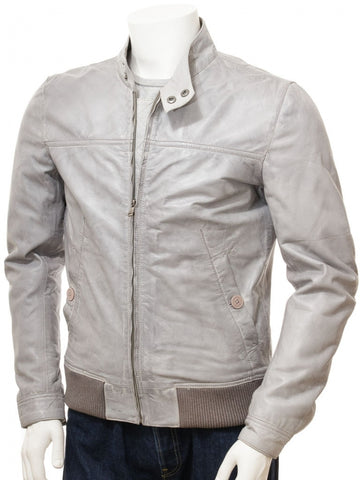 Affordable Custom Grey -Leather Jacket