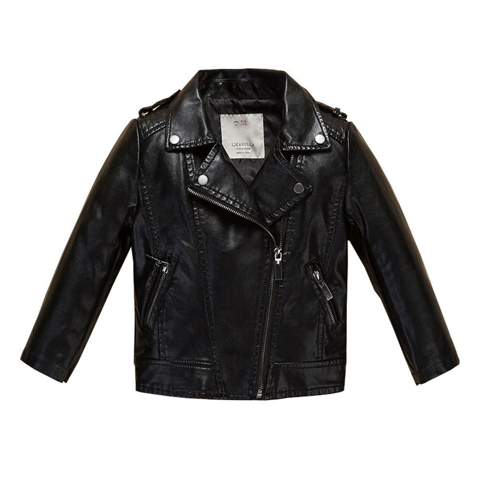Cute Black Leather Jacket For Kids