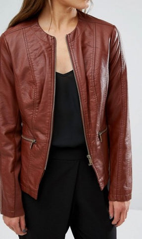 Fashionable Brown Leather Jacket for Women