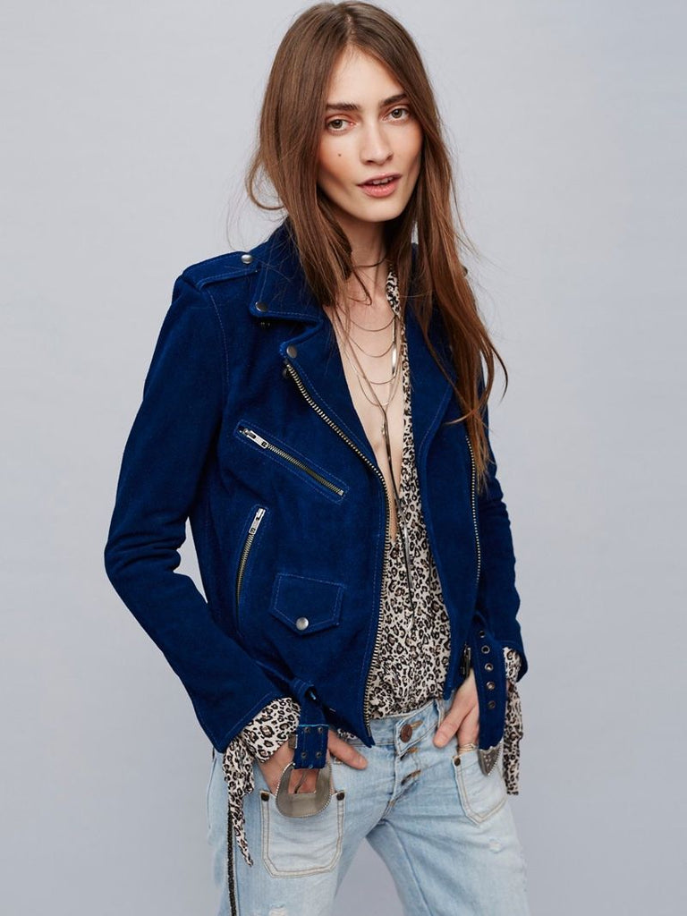 Dark-Blue Leather Jacket for women