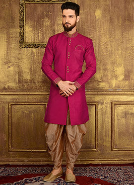 A Luxury Dark-Pink Indian Sherwanis for Groom