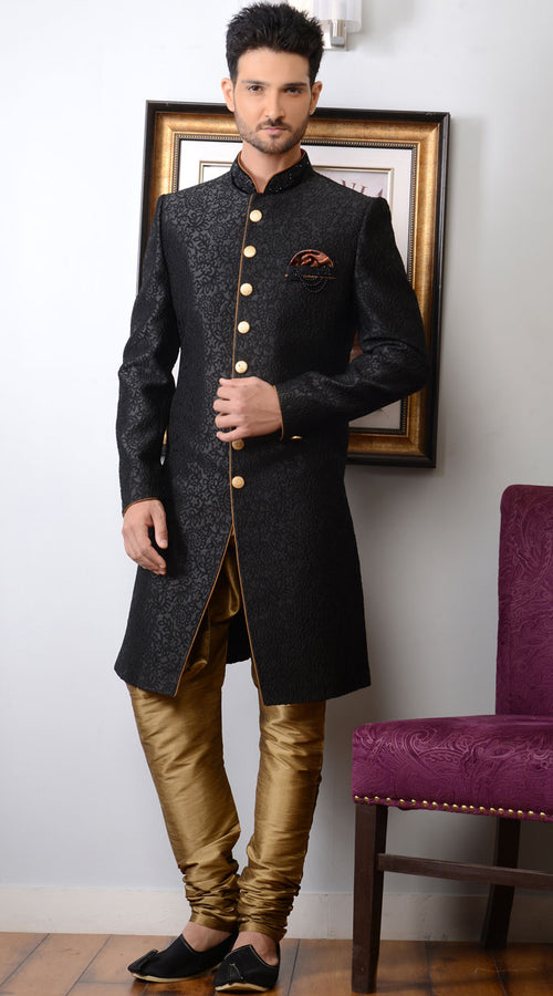 Dashing Black Sherwani For Men