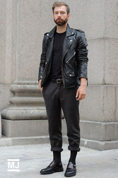 Dress in a black leather motorcycle jacket