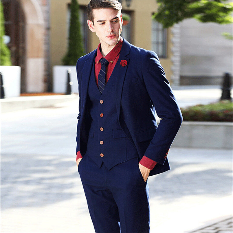 Fashion 3 Pieces Men Suits Red Button