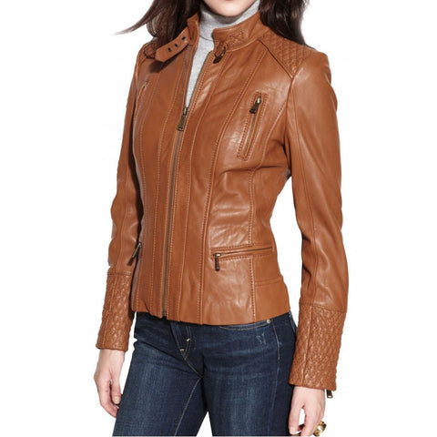 Trendy Leather Motorcycle Jacket for women
