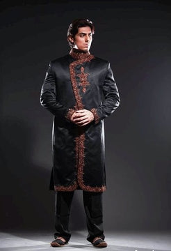 Black Fashion Pakistani Sherwani