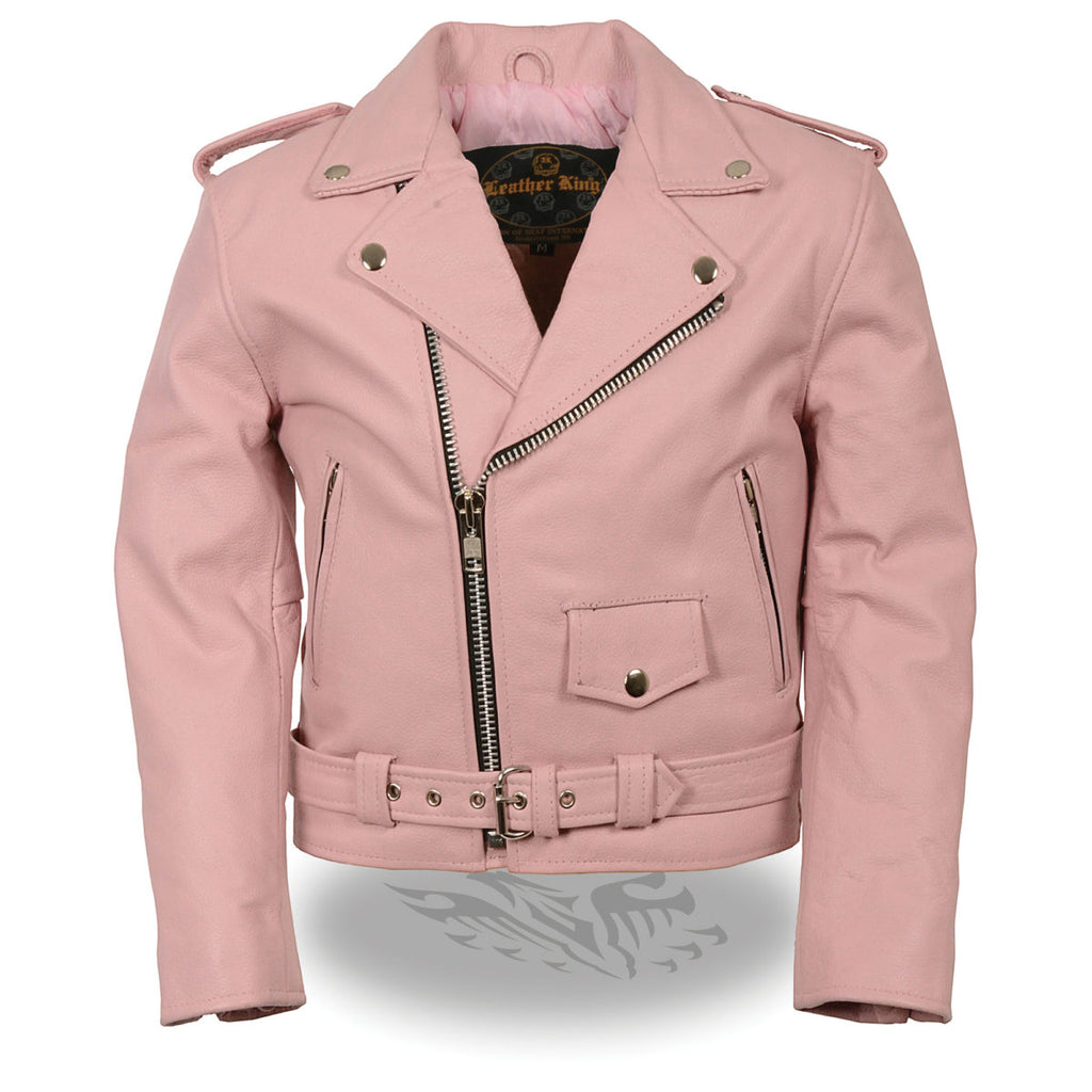 Fashionable Pink Leather Jacket For Kids