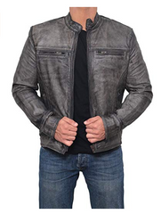 Garcia Dark Gray Quality Waxed Mens Real Cafe Racer Leather Jacket