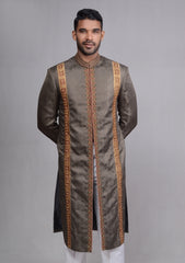 Glorified Grey Sherwani For Men