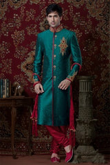 Green brocade Indian Sherwani