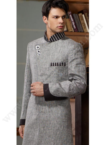 An Affordable Grey Modern Indian Sherwani