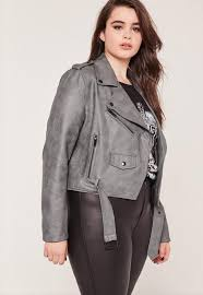 Grey Plus Size Leather Jacket for women