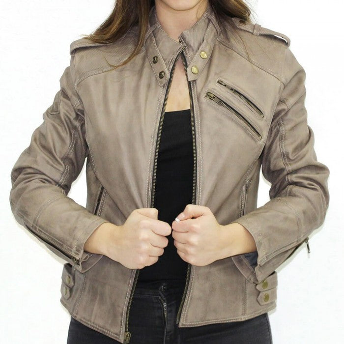 Grey Women Motorcycle Jacket