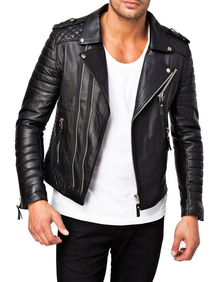 Hand Made Men Leather Motorcycle Jacket