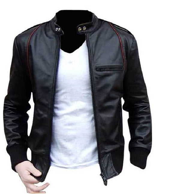 Handmade Custom New  Black Leather Jacket