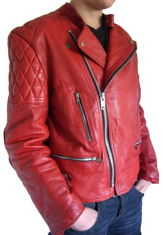New Men Stylish With Quilted Shoulders Leather Jacket