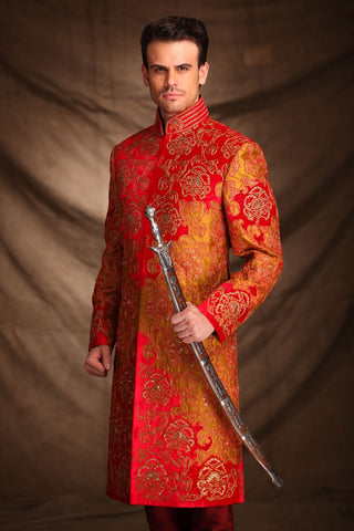 A Stunning Indian Red Sherwani for Groom