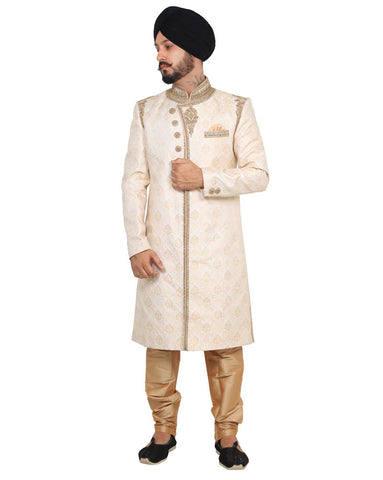 An Attractive Indian Cream Color Sherwani