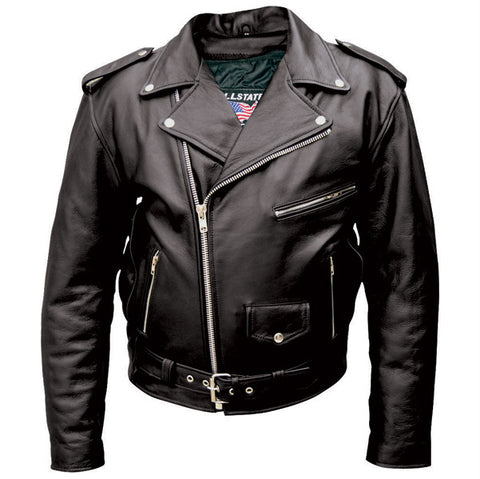 Men Tall Black Leather Motorcycle Jacket