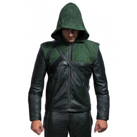 Leather Rider Handmade Green Arrow Leather Jacket With Hoodie